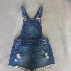 H&M's denim distressed overalls